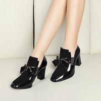 Más el tamaño 34-43 nueva Primavera Otoño genuino de cuero de tacón alto mary janes pajarita zapatos de las mujeres bombea los zapatos de oro de charol zapatos
