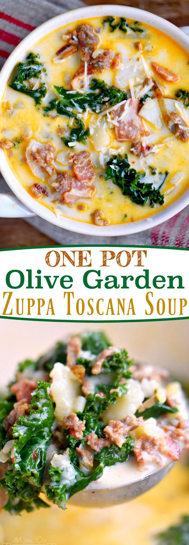 The whole family will love this copycat One Pot Olive Garden Zuppa Toscana Soup! Comfort food at it's best! Loaded with bacon, sausage, potatoes, and kale! So delicious and filling!