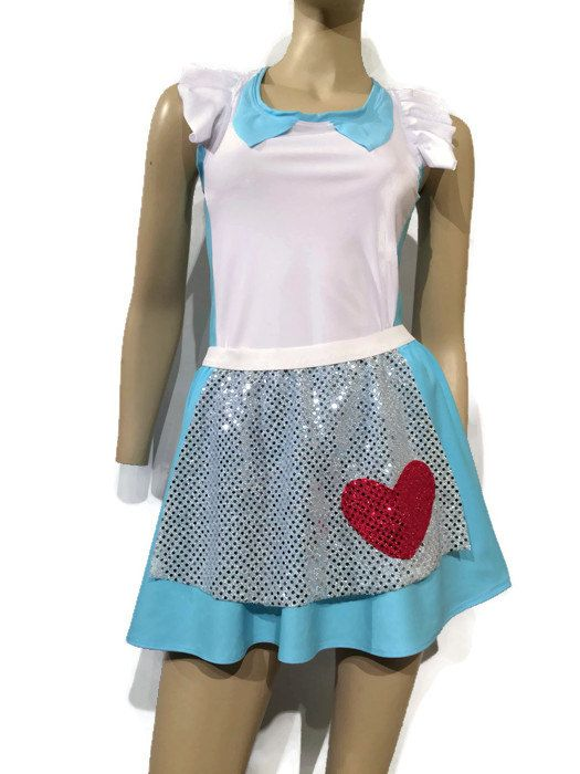 Alice in Wonderland inspired running costume- shirt  and skirt with apron running costume by RockCitySkirts on Etsy