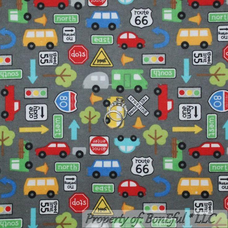 BonEful Fabric FQ Flannel Cotton Quilt Gray Camper RV Route 66 Boy Car Bus Truck #RileyBlakeDesigns