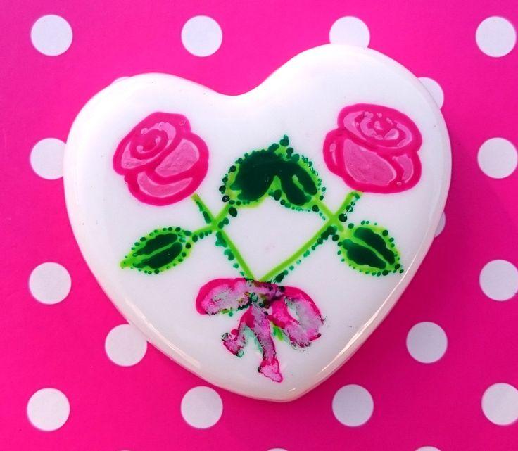 Little Hearts #19: handpainted art on a little white heart by TheBigLittleArtShop on Etsy