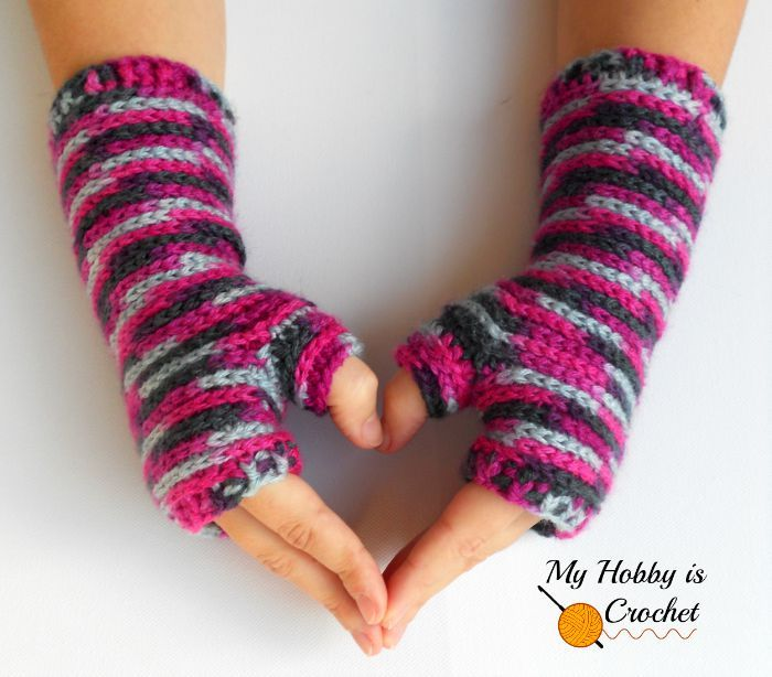 Bella Bricks Fingerless Mitts - Free Crochet Pattern - My hobby is Crochet: