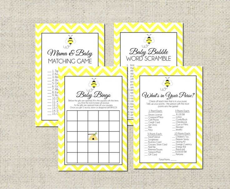 Bumble+Bee+Baby+Shower+GAME+PACKAGE+by+GeminiCelebrations+on+Etsy,+$8.00