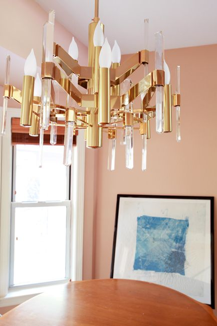 Gorgeous Sciolari Chandelier  The wall color is gorgeous too ~ Benjamin Moore Terra Bella