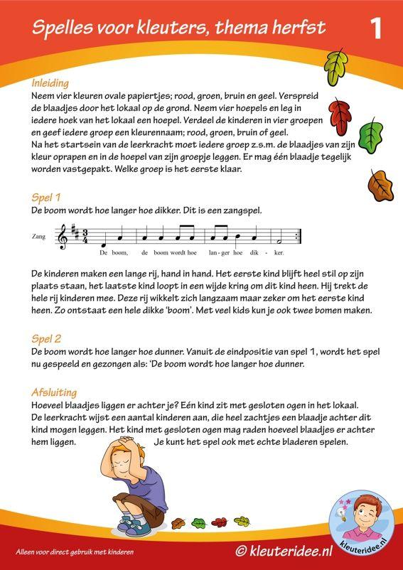 Spelles 1 thema herfst voor kleuters, thema herfst, by juf Petra van kleuteridee, free printable.