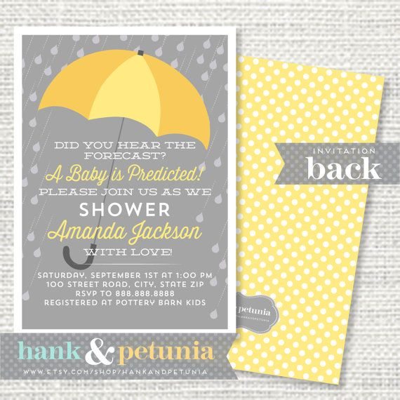 Printable Yellow and Gray Rain Baby Shower by HankandPetunia, $15.00