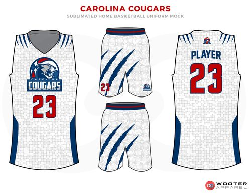 1cf3caf16 CAROLINA COUGARS Grey Blue Red and White Basketball Uniforms