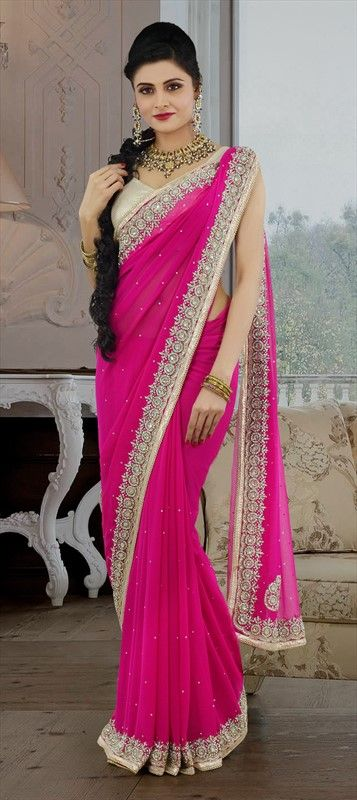 Party Wear Sarees, Embroidered Sarees, Chiffon, Machine Embroidery, Sequence, Stone, Zari, Lace, Pink and Majenta Color Family