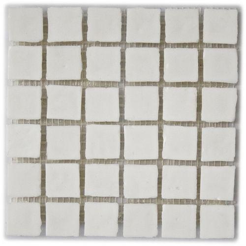 Loft White - Iridescent irregular edged glass mosaic tile in bright white. Chip size 1.6x1.6cm