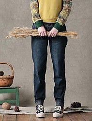 Dambyxor  ( Bomull/Denim ) Lös/Harem/Jeans  -  Mellan  -  Mikro-elastiskt