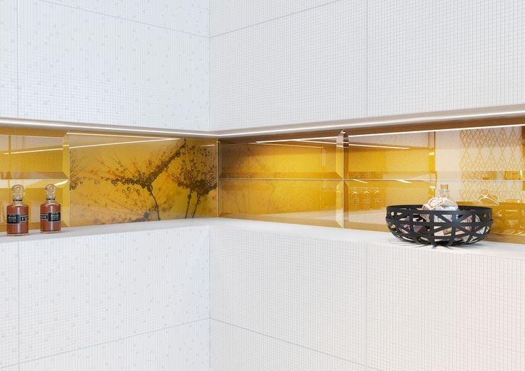 Złoto i żółty kolor to królewskie połączenie. Szklane dodatki dodadzą wnętrzu szyku. Art Mosaic - 30x60 - Opoczno.