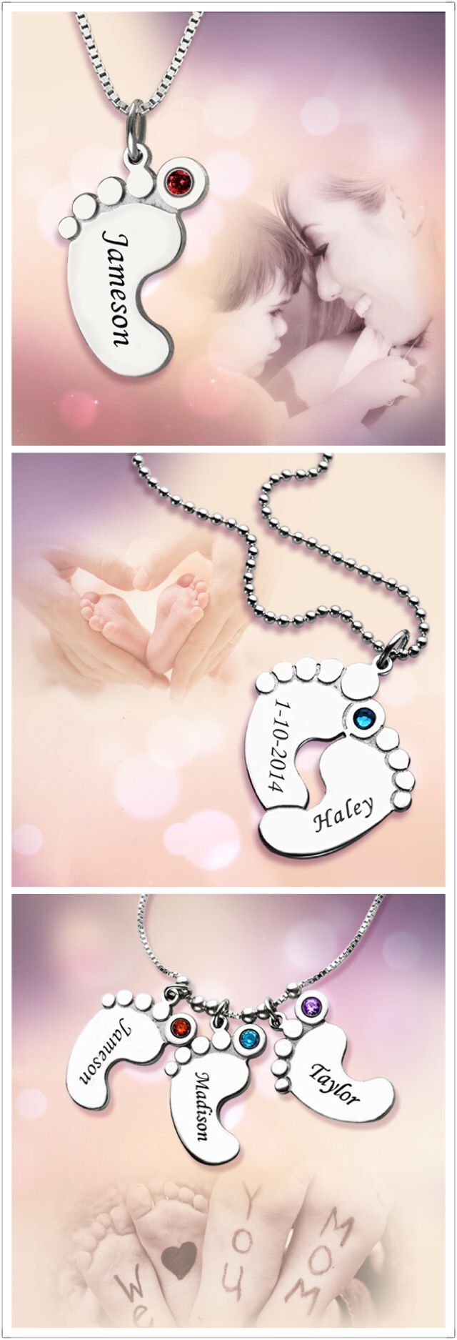 Moms love anything that celebrates their children, which is why they are sure to love Mom Jewelry - Baby Feet Necklace. Find more at Getnamenecklace.com