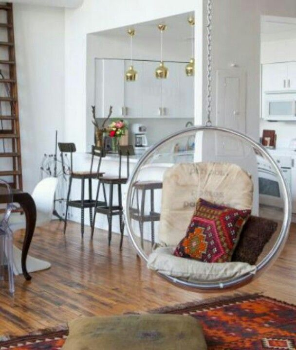 luv the bubble chair! Sneak Peek An Eclectic Philadelphia Loft.  The bubble chair is from Plushpod and the postal sacks on the cushions are from the Paris ... & 27 best hanging chairs images on Pinterest | Swing chairs Hanging ...