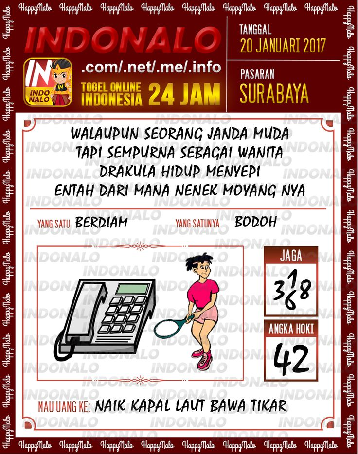 Nomer Hoki 4D Togel Wap Online Live Draw 4D Indonalo Surabaya 20 Januari 2017