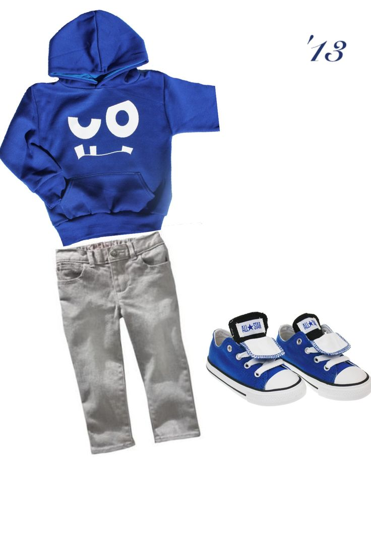 Adorable hoodie, skinny jeans, and matching blue converse for toddler boy!