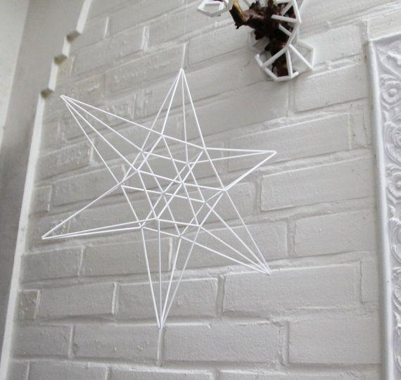 LUCKY STAR Himmeli | Modern Hanging Mobile | Geometric Art Sphere | Air Plant Hanger | Minimalist Home Decor