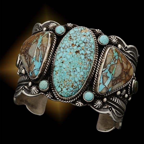 Cuff | Guy Hoskie.  Sterling silver combined with natural turquoise, Turquoise Mountain and Royston Turquoise.