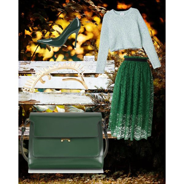 green is the new black by xhinapaluca on Polyvore featuring мода, Monki, Chicwish, Topshop, Marni, Annelise Michelson and BACSAC