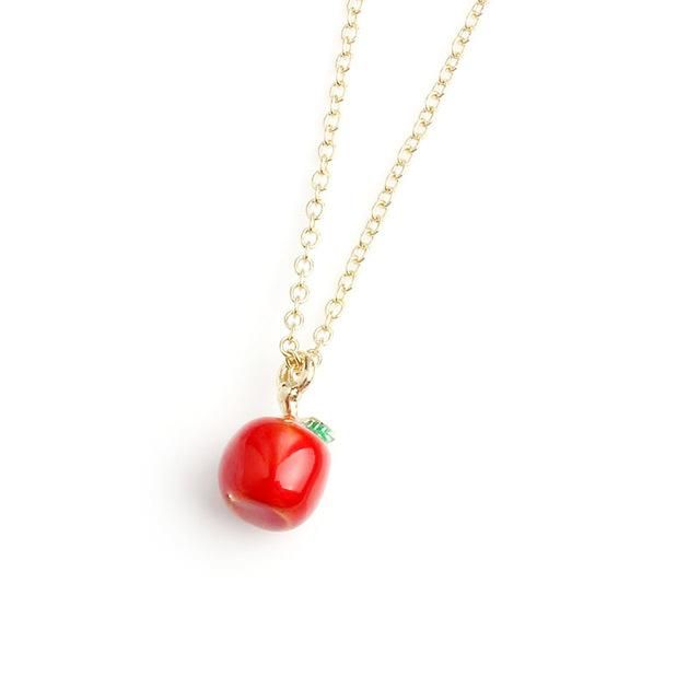 Apple Necklace #kawaii #cute  Fresh and Fruity Necklaces! Always a good choice! Cute and Beautiful Simplicity that goes with everything!