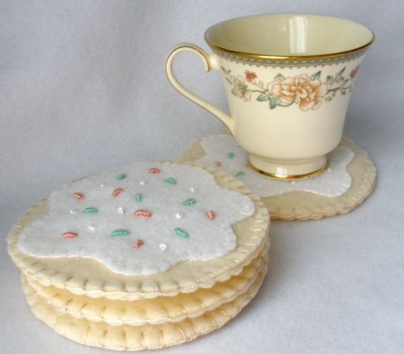 Sugar Cookie Felt Coaster Set - MugMats Ivory White Cookie With Sprinkles. $18.00, via Etsy.