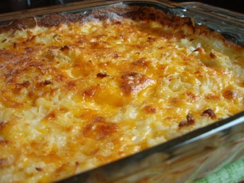 I love all thing potato -- and this recipe is no exception. It's simple, frugal, gluten-free... and it tastes great! This is a perfect side dish to accompany all your upcoming summer cookouts -- it pairs well with hamburgers or grilled meats. Kids and adults love it! I like to make it up early in the day and pull it out of the refrigerator shortly before baking it.
