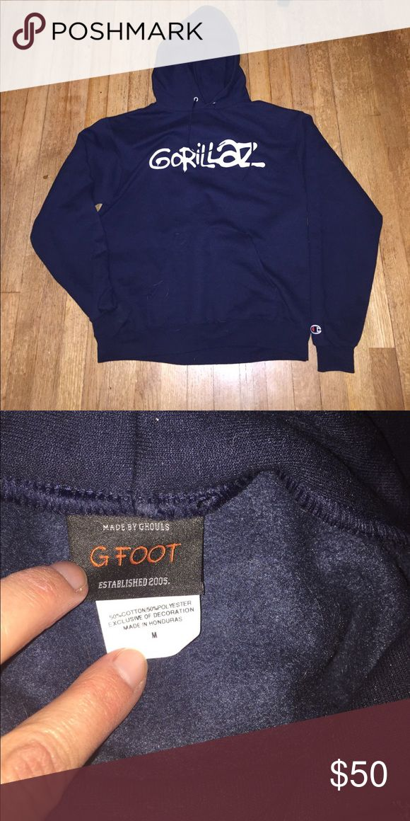 Band merch, Gorillaz pullover hoodie Band merch, Gorillaz, pullover hoodie, Champion, size Medium unisex, worn twice has not been washed, thought it was black when I bought it but I think it's actually Navy. Champion Tops Sweatshirts & Hoodies