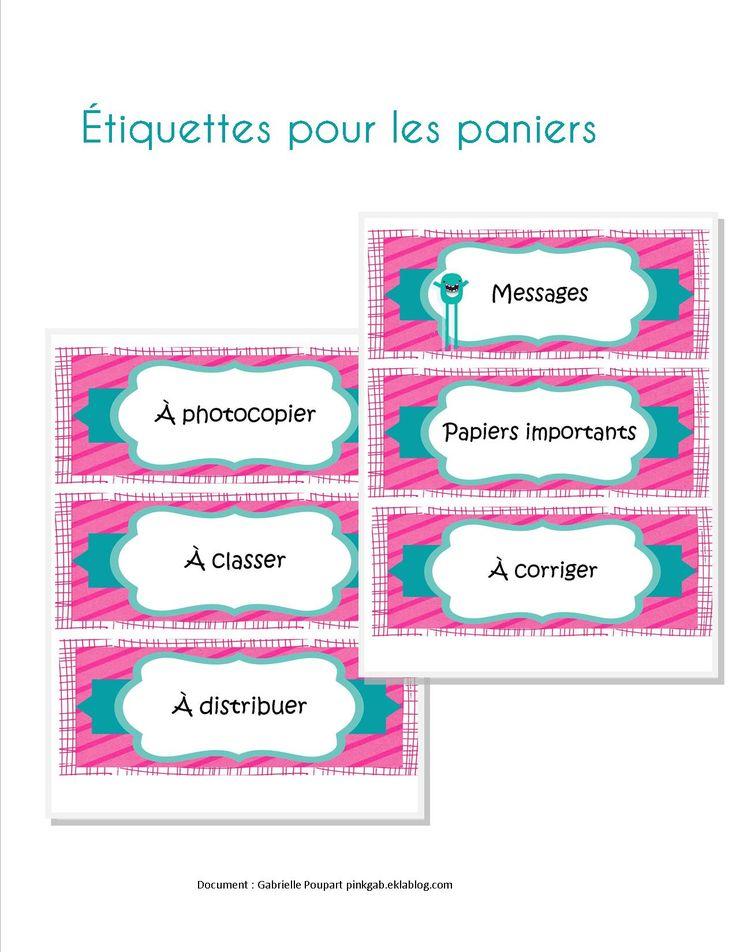 Étiquettes roses pour les paniers  (Messages, papiers importants, à corriger, à photocopier, à classer, à distribuer )