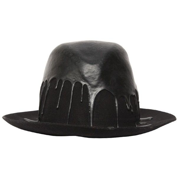 Superduper Men Dripping Paint Wool Felt Brimmed Hat ($560) ❤ liked on Polyvore featuring men's fashion, men's accessories, men's hats, black, mens wool hat, mens felt hats, mens hats and mens wool felt fedora hats