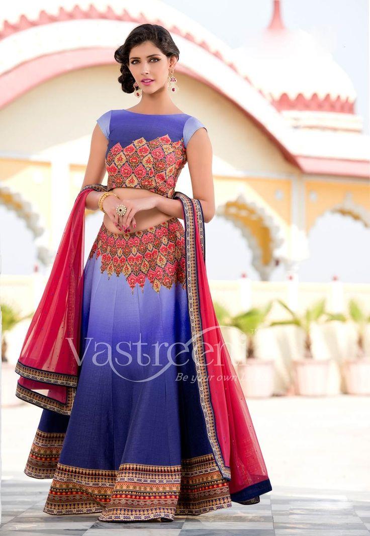 Violet Designer Wear Punjabi Wedding Lehenga Choli In Silk LehengaCholi