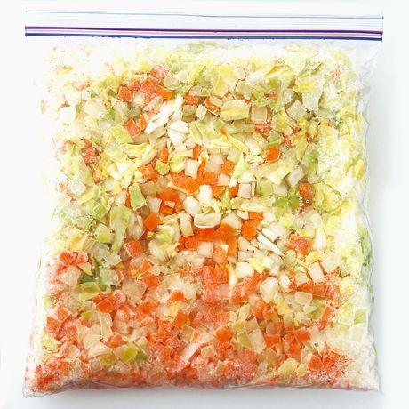 レタスクラブの簡単料理レシピ 角切り野菜でいつでもおいしいスープを!「冷凍スープ野菜ミックス」のレシピです。