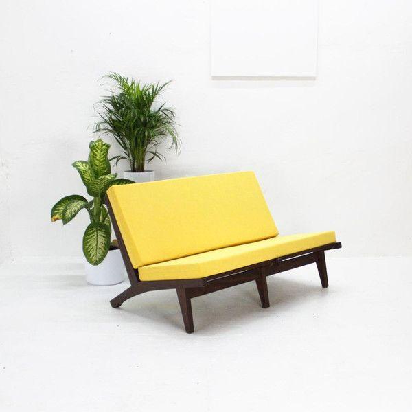 50er Jahre Zweisitzer-Sofa, gelb von The Hunter – Select Vintage Goods auf DaWanda.com