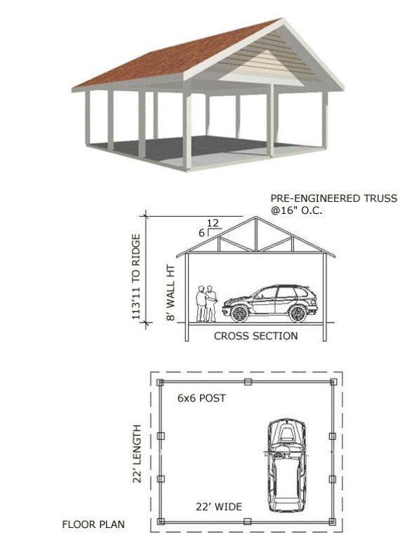 Two Car Carport Size