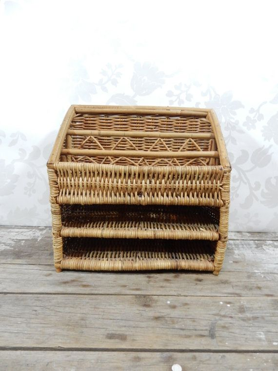 Desk Organizer, wicker caddy, office desk accessories
