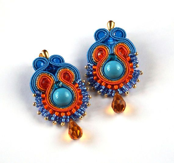 Soutache earrings Unique jewelry Turquoise and orange