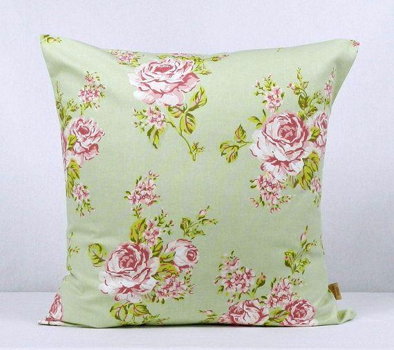 24x24, pillow, throw pillow cover, Decorative Throw pillow, English Rose, Sage Green, throw pillow , Floral pillow, case, 24 inch, handmade