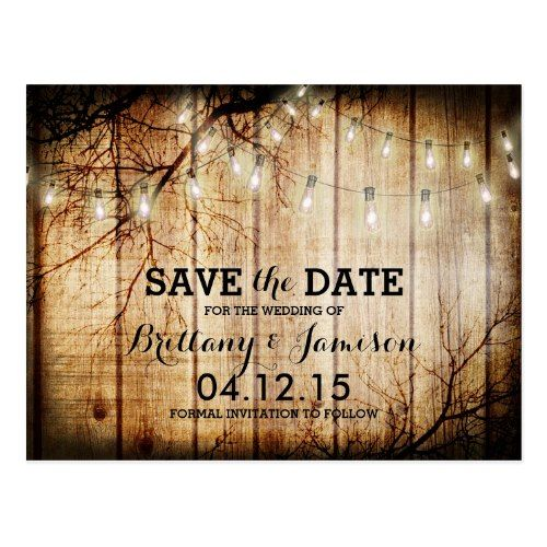 Vintage Wedding Save the Date String Lights Tree Vintage Barn Wood Save the Date Postcard