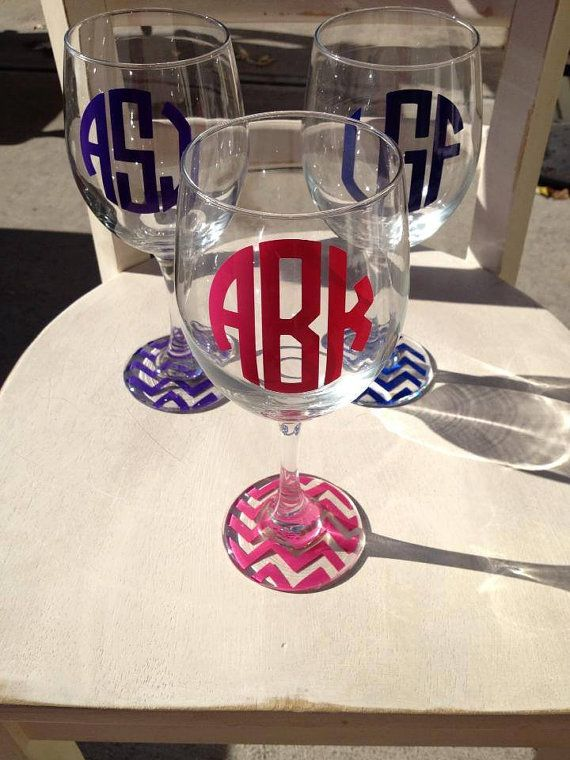 Monogrammed wine glass...complete with chevron bottom!  Drink your wine in style circle or vine monogram on Etsy, $11.00