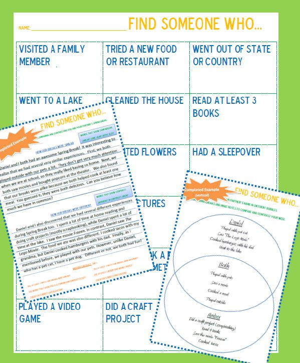 images about compare  amp  contrast writing on pinterest   essay    welcome back from spring break  quot find someone who quot  interactive game  lets the students