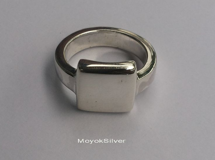 "Litte Plain Square 1""x1"" Silver Rings with handmade 925 sterling silver jewelry rings#All size Cool and simple design rings. by MoyokSilver on Etsy"