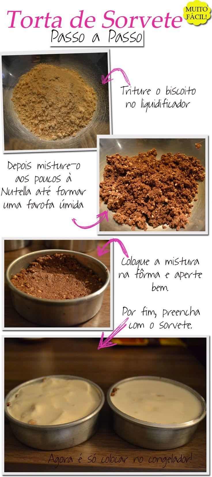 Receita de Torta de Sorvete  Retire o sorvete do freezer para q ele vá derretendo.1)Triture os biscoitos no liquidificador até formar uma farinha grossa.2)Misture aos poucos essa farinha à nutella até q ganhe a consistência d uma farofa úmida.3)Coloque essa farofa no fundo da fôrma apertando bem e subindo um pouco pelas laterais.4)Por cima, despeje o sorvete já derretido.Colocar p/ congelar (+ ou - 3 h).5)Desenforme c/ cuidado e decore c/ raspas d chocolate.