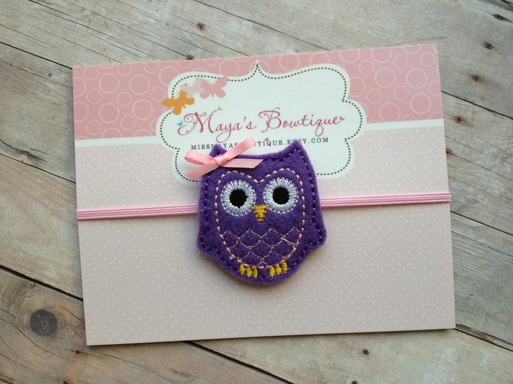 Purple Owl Headband - Owl Headband - Baby Girl Headband - Baby Headband - Newborn Headband - Infant Headband. $5.00, via Etsy.