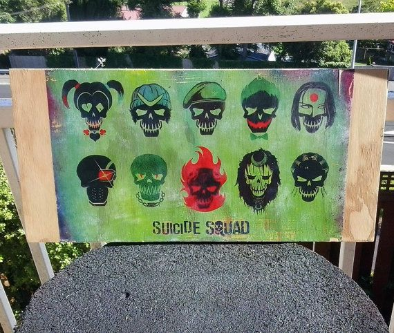 Suicide Squad Wood Block Print by 6DistressedMemories9 on Etsy