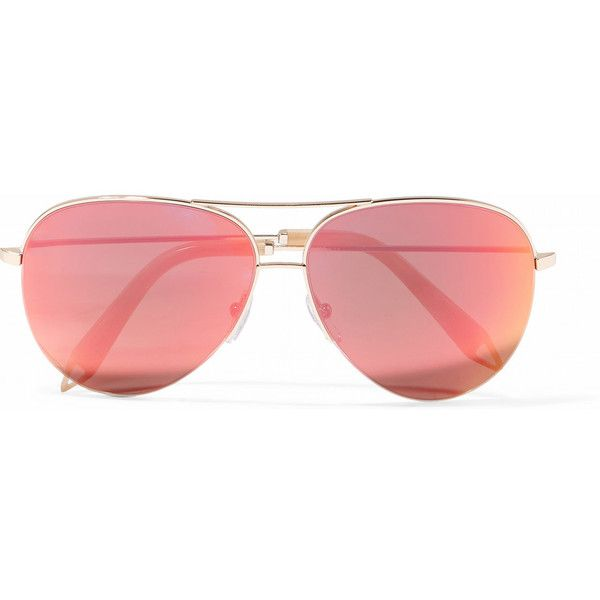 Victoria Beckham Aviator-style gold-tone mirrored sunglasses ($425) ❤ liked on Polyvore featuring accessories, eyewear, sunglasses, victoria beckham, aviator, victoria beckham aviators, mirrored aviators, mirrored aviator glasses, mirror aviators and mirror aviator sunglasses