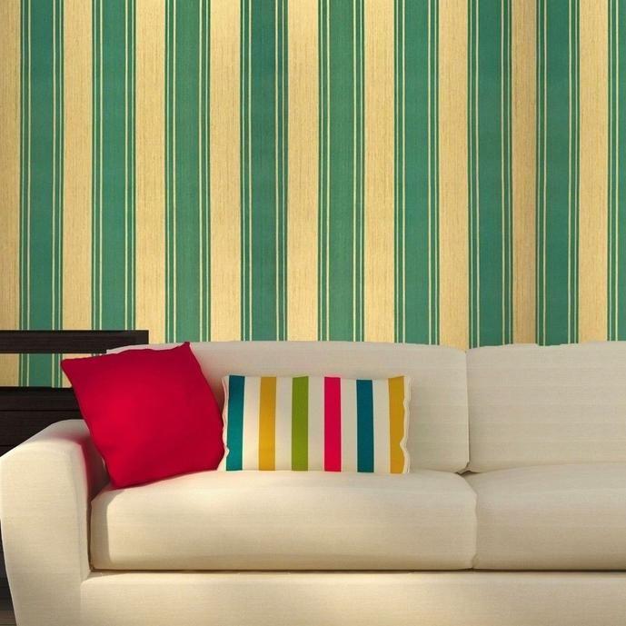 400026 Striped Flock Wallpaper Flocked Green Gold Metallic Textured Flocking Velvet Cabin Living Room Green Color Combinations Flock Wallpaper Green white gold wallpaper stripes