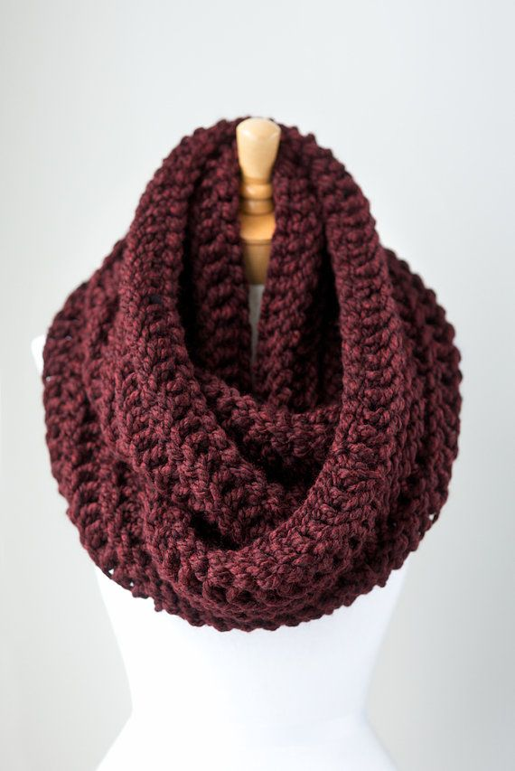 Oversized infinity scarf, Burgundy oversized chunky eternity scarf, Oxblood crochet infinity loop scarves
