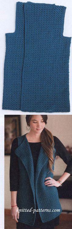 Crochet Vest free pattern                                                                                                                                                     Más                                                                                                                                                                                 More