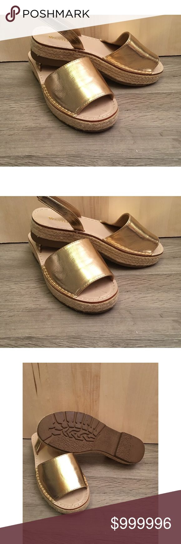 Wanted gold metallic espadrilles Wanted gold metallic espadrilles sandals, worn once practically new... Wanted Shoes Espadrilles