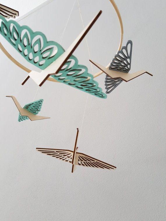 ALIZI.MOBI - mobile in legno con flappy Uccelli di origami