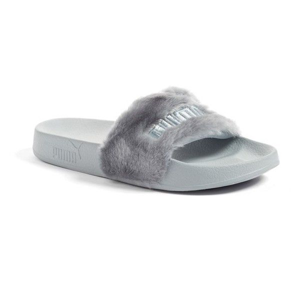 Women's Puma By Rihanna 'Leadcat Fenty' Faux Fur Slide Sandal ($80) ❤ liked on Polyvore featuring shoes, sandals, quarry, puma footwear, fuzzy shoes, fuzzy sandals, faux fur shoes and puma shoes