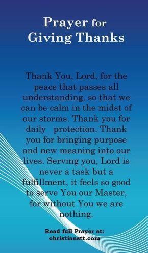 Prayer for Giving Thanks